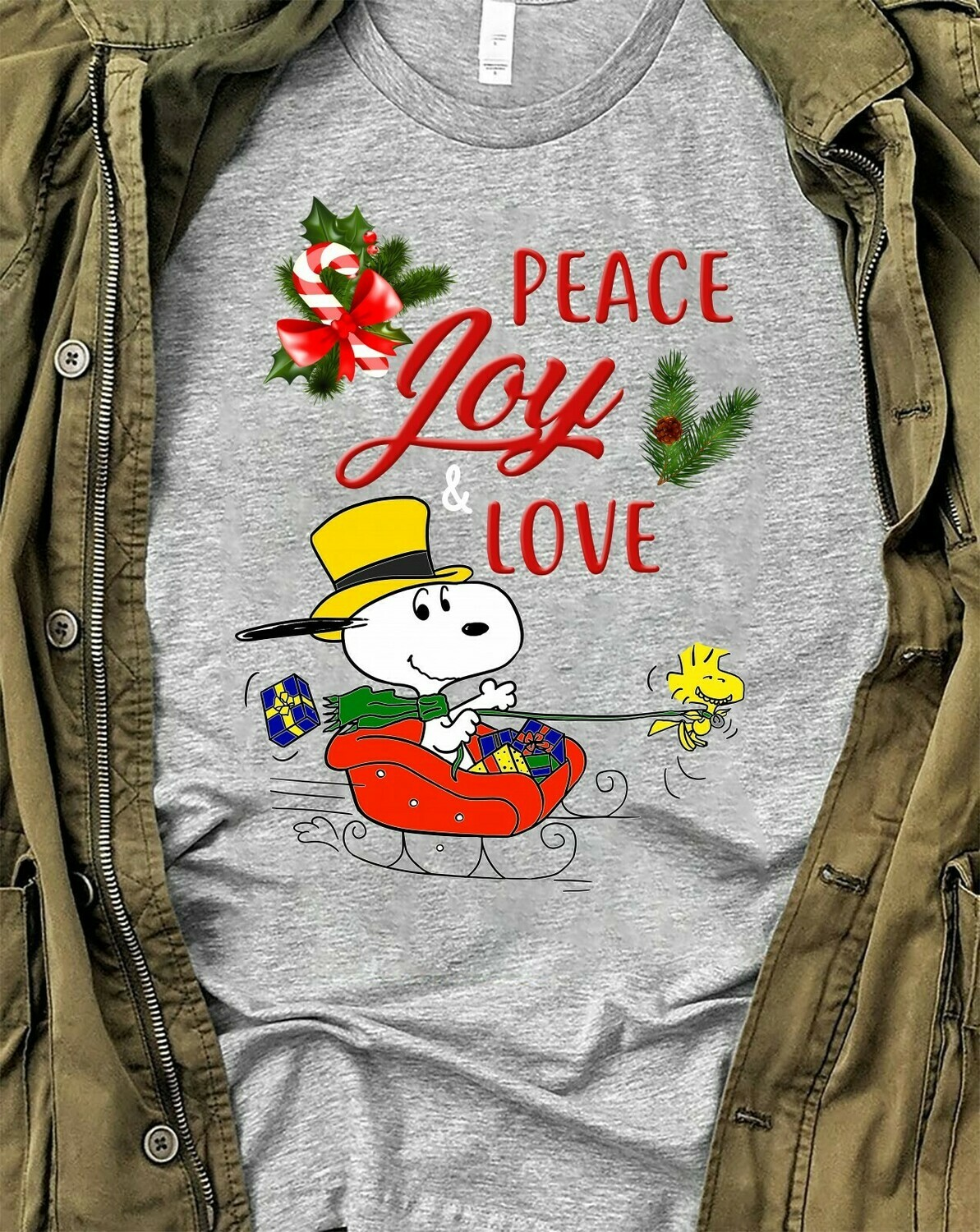 Snoopy Woodstock Charlie Brown Peace Joy Love Friends Funny Christmas Snoopy Kind Merry Christmas 2019 Shirt Long Sleeve Sweatshirt Hoodie Jolly Family Gifts