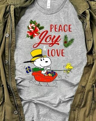 Snoopy Woodstock Charlie Brown Peace Joy Love Friends Funny Christmas Snoopy Kind Merry Christmas 2019 Shirt Long Sleeve Sweatshirt Hoodie Jolly Family Gifts