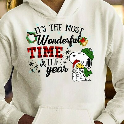 It's The Most Wonderful Time Of The Year Snoopy and friends,Charlie Brown Santa Claus Xmas,Red Plaid buffalo Print Christmas T shirt Long Sleeve Sweatshirt Hoodie Jolly Family Gifts