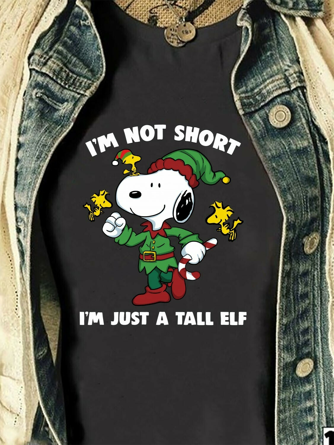 """I'm Not Short I'm Just A Tall Elf Shirt,Snoopy and Friends Funny Christmas,Premium """"Baseball"""" Style Three Quarter Sleeve Tee T-Shirt, Long Sleeve Sweatshirt Hoodie Jolly Family Gifts"""