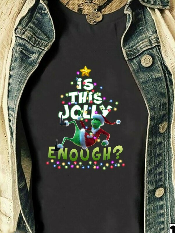 Is This Jolly Enough Grinch,The Stole Christmas Gift,Stitch Christmas Disney Vacation Funny Grumpy Santa Grinch T-Shirt Long Sleeve Sweatshirt Hoodie Jolly Family Gifts
