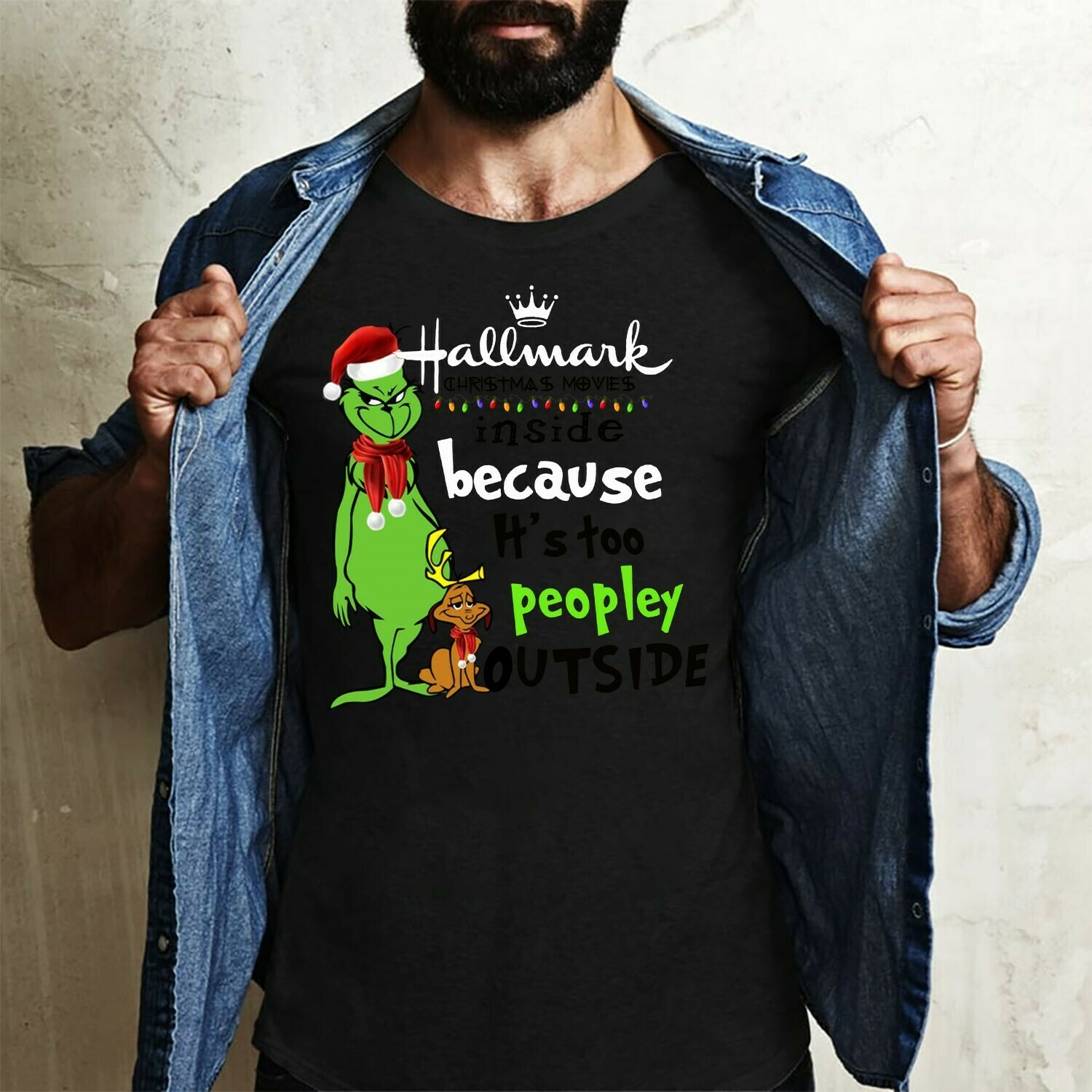 Grinch Hallmark Christmas movies inside because it's too peopley outside,the Grinchmas gathering,Christmas original cartoon Grinch T-Shirt Long Sleeve Sweatshirt Hoodie Jolly Family Gifts