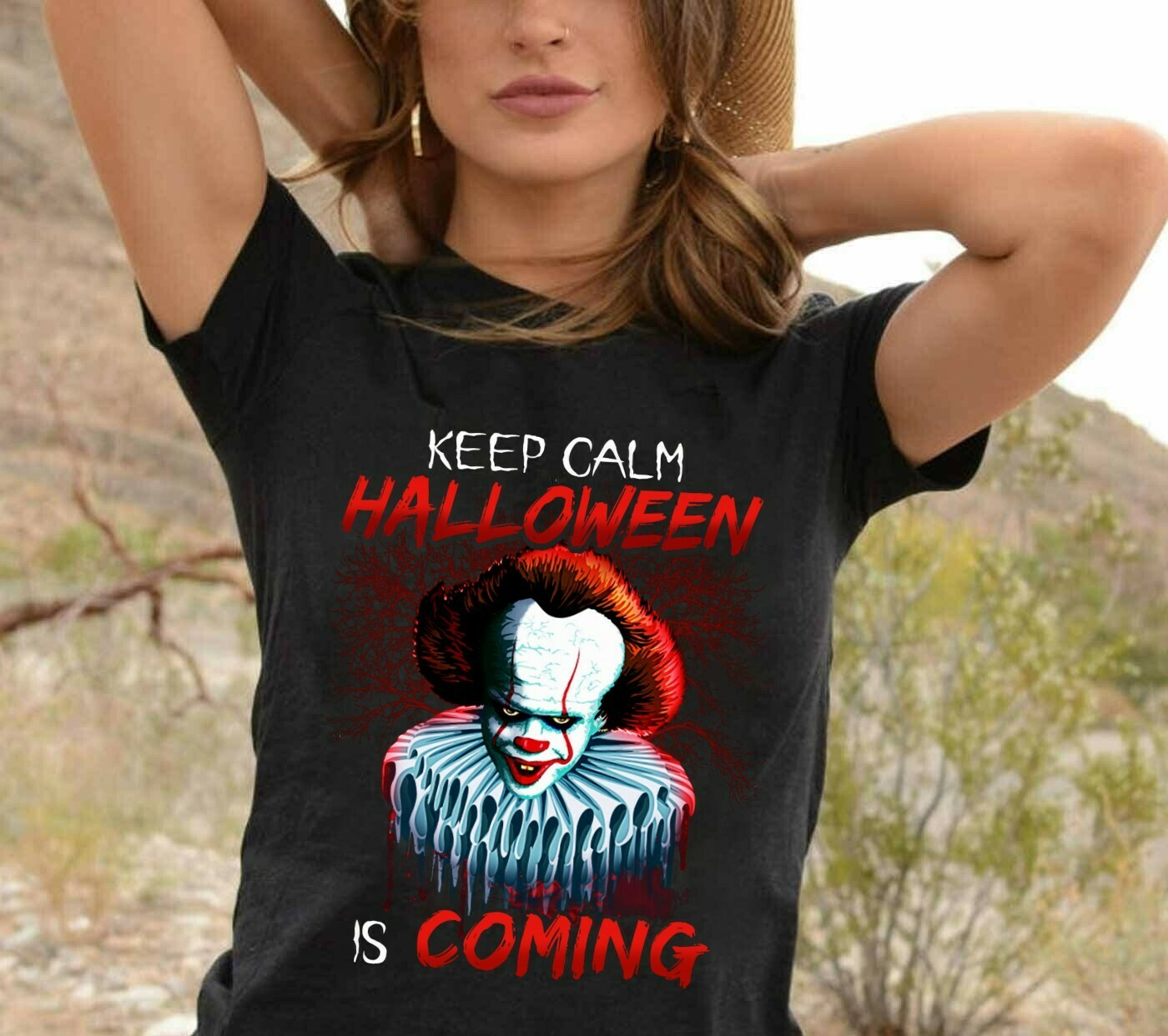 Pennywise Horror Keep Calm Halloween Is Coming Gifts For Fan Movie Villains Halloween Movie Mashup Halloween Tee Not So Scary T-Shirt Long Sleeve Sweatshirt Hoodie Jolly Family Gifts