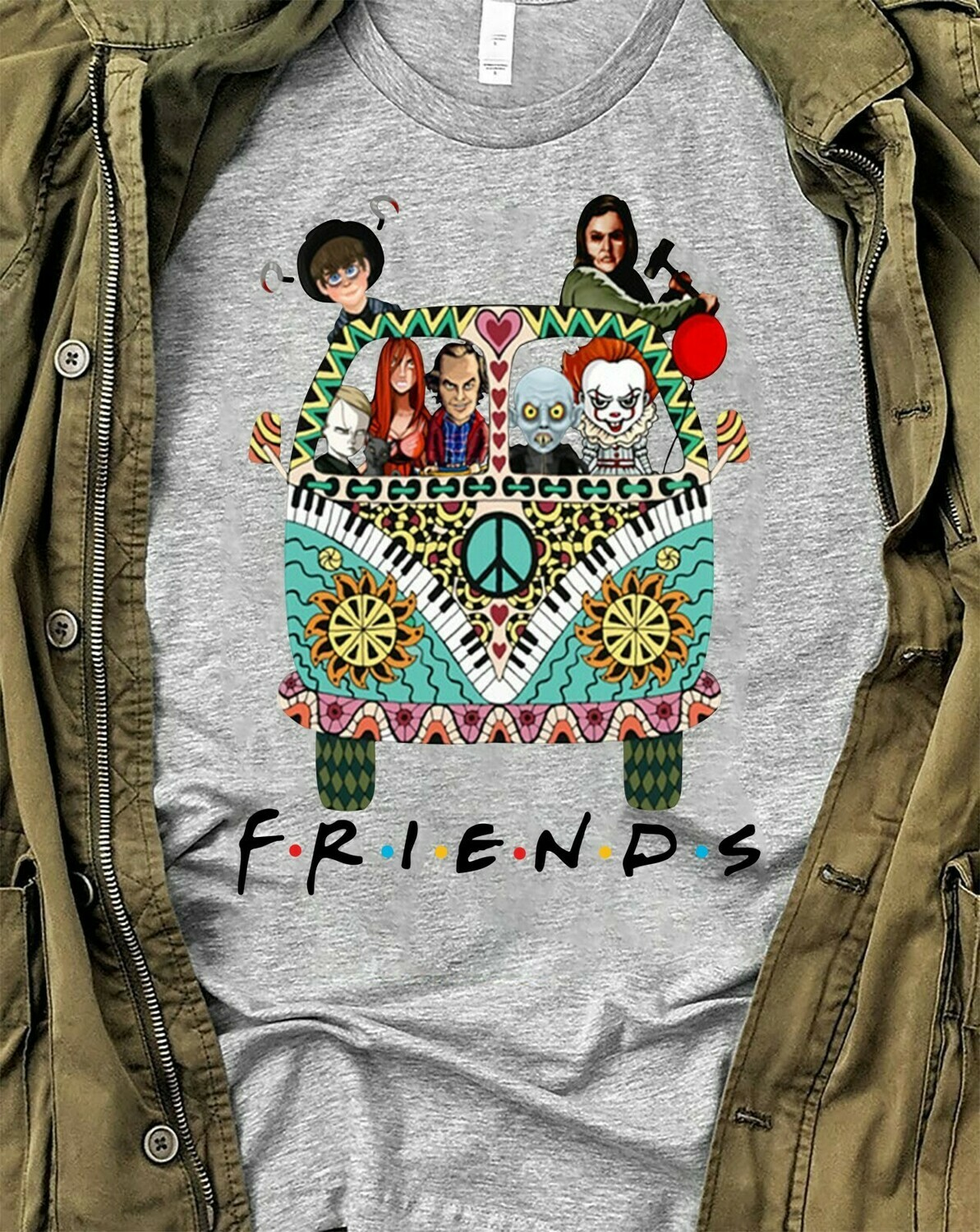 Hippie Van Car Friends IT Pennywise We All Float Down Here Squad Friday The 13th Villains Halloween Horror Movie Halloween Squad T Shirt Long Sleeve Sweatshirt Hoodie Jolly Family Gifts