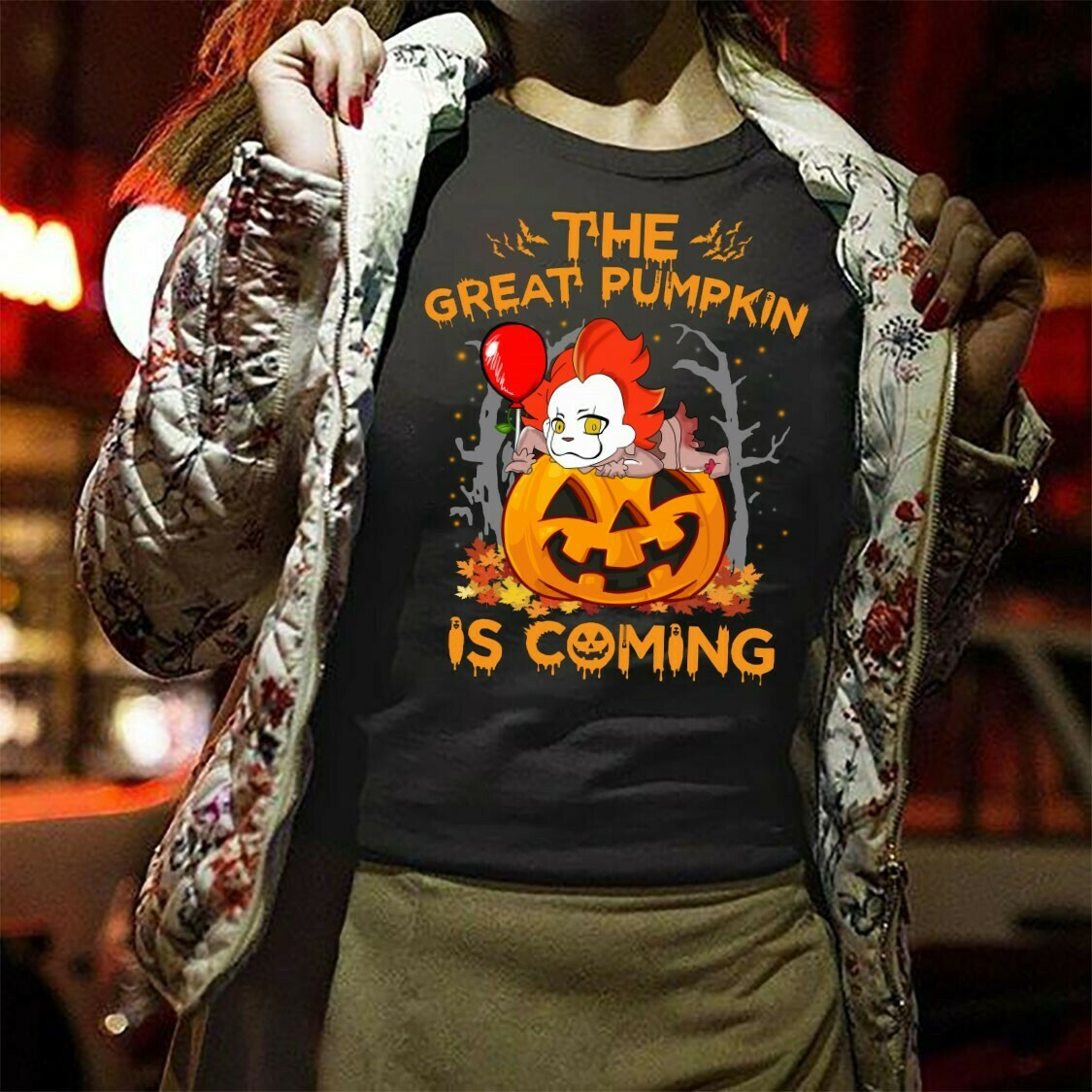 The Great Pumpkin Is Coming Chibi Pennywise Horror Friday The 13th Villains Halloween Movie Mashup Halloween Tee Not So Scary T-Shirt Long Sleeve Sweatshirt Hoodie Jolly Family Gifts
