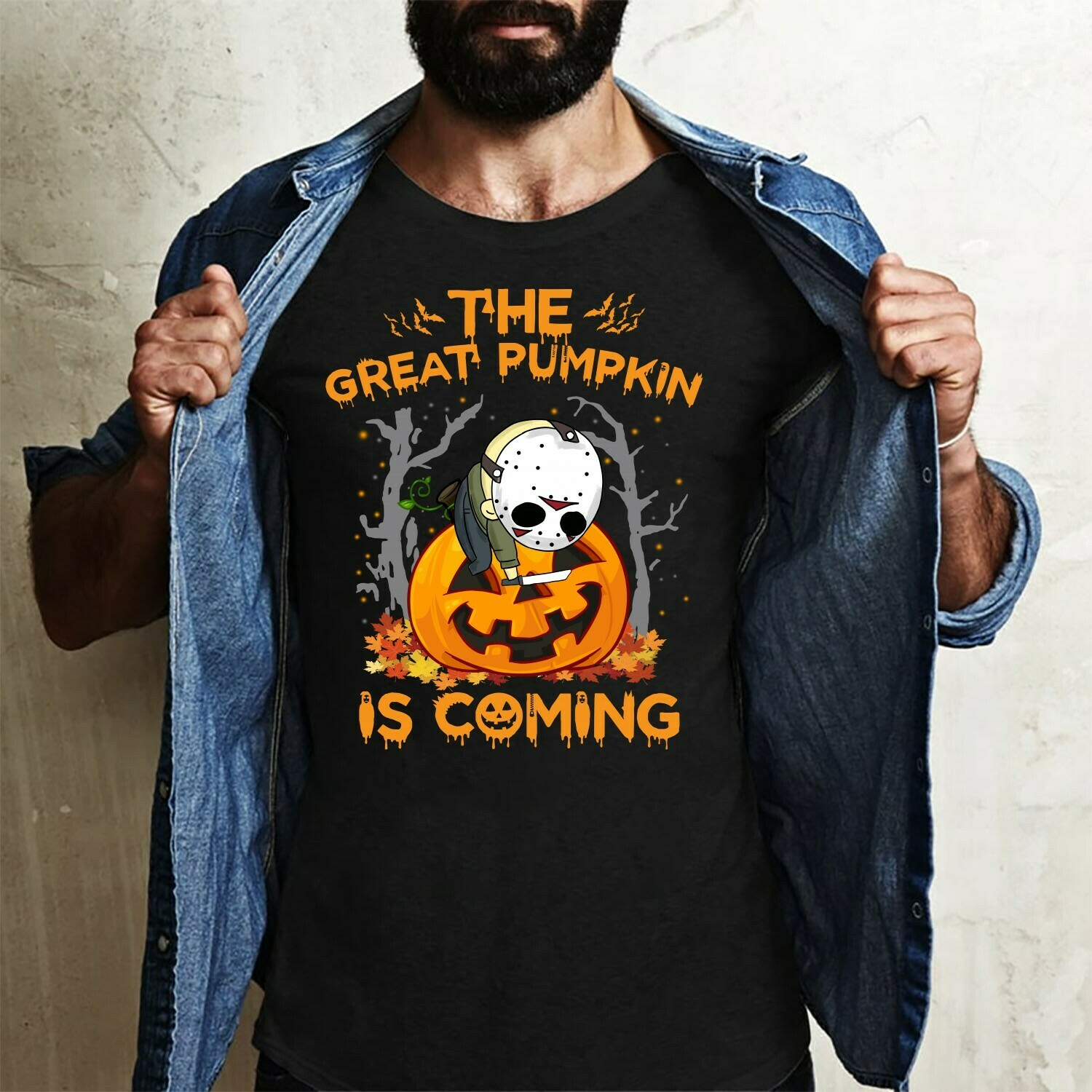 The Great Pumpkin Is Coming Chibi Jason Voorhees Horror Friday The 13th Villains Halloween Movie Mashup Halloween Tee Not So Scary T-Shirt Long Sleeve Sweatshirt Hoodie Jolly Family Gifts