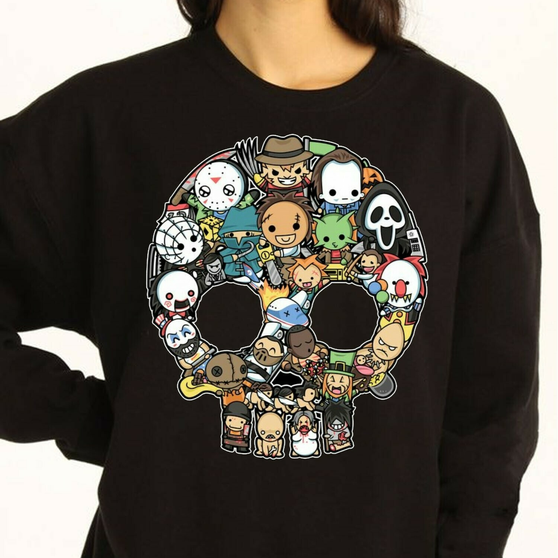 Skull Chibi Horror character Halloween Villains Halloween Horror Movie Mashup Halloween Squad Not So Scary Tee T-Shirt Long Sleeve Sweatshirt Hoodie Jolly Family Gifts