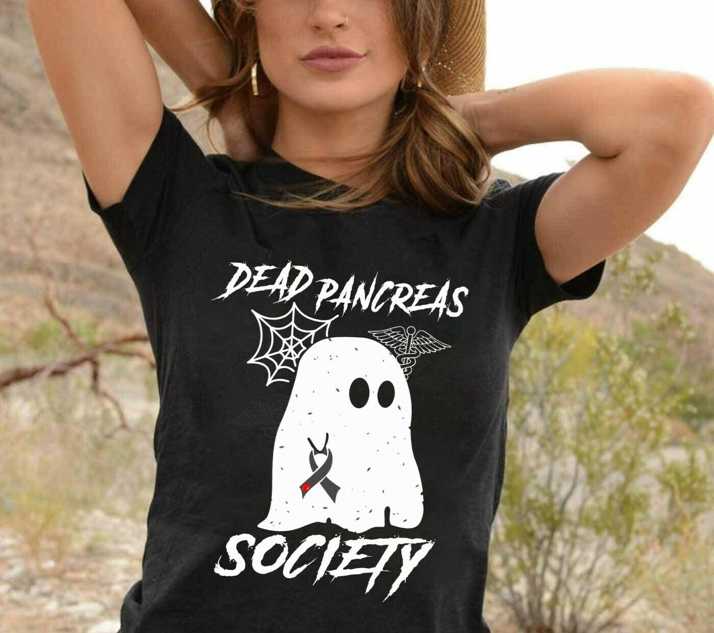 Dead Pancreas Society Pink Warrior Breast Cancer Awareness Survivor Ghost Boo Horror Halloween Horror Halloween Squad T Shirt Long Sleeve Sweatshirt Hoodie Jolly Family Gifts
