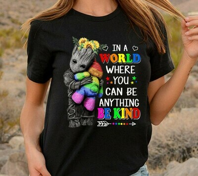 in a world where you can be anything be kind groot elephant hippie peace sunflower designs shirt Long Sleeve Sweatshirt Hoodie Jolly Family Gifts