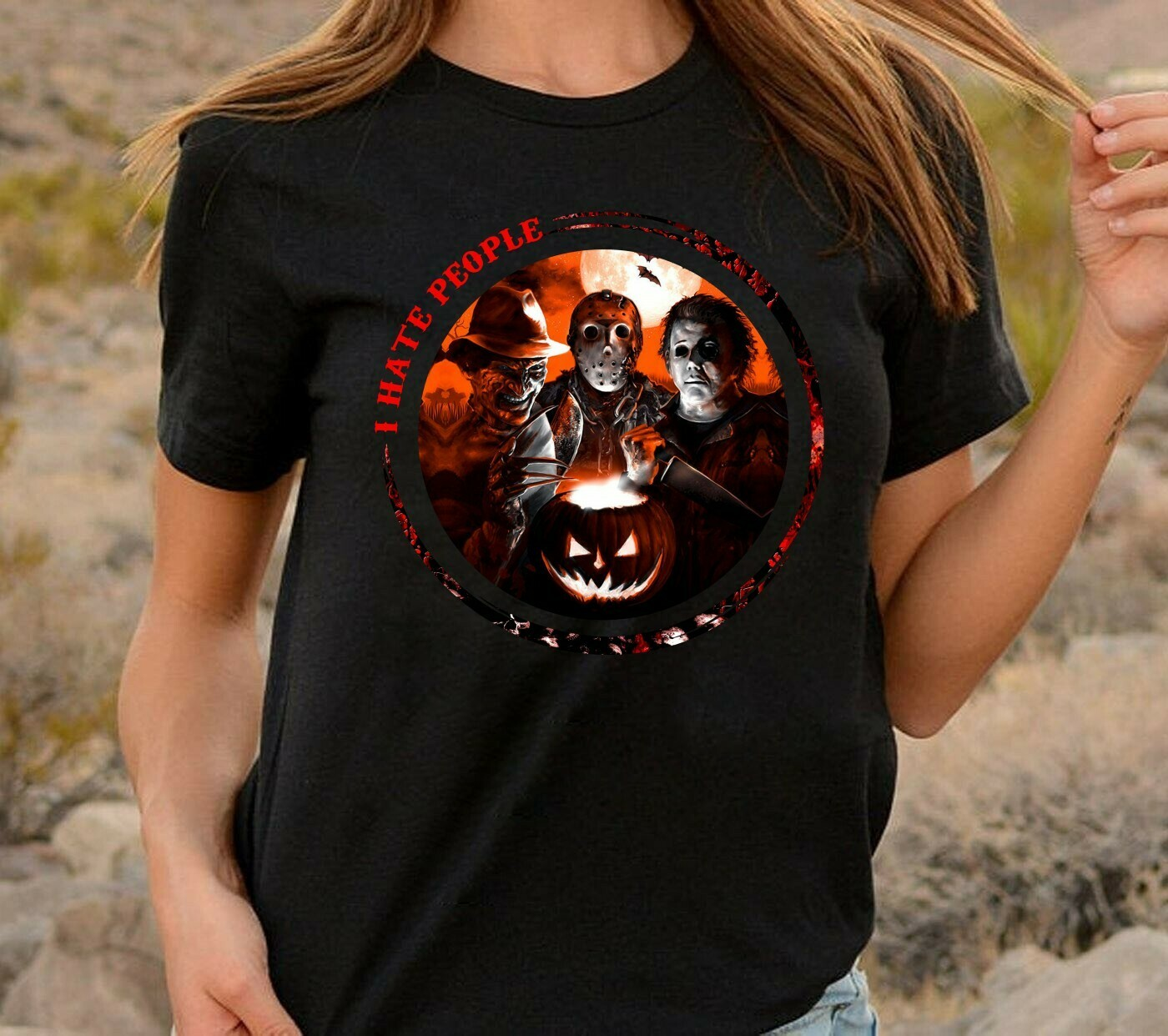 I Hate People Horror Squad Friday The 13th Villains Halloween Movie Freddy Krueger Michael Myers Jason Voorhees Scary Tshirt Long Sleeve Sweatshirt Hoodie Jolly Family Gifts