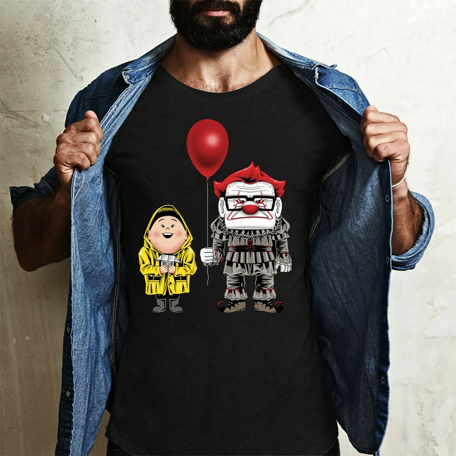 Funny UP Russell And Carl Fredricksen Cosplay Inspired IT Pennywise Gifts For Fan Movie Villains Halloween Movie Halloween Squad Tee T-Shirt Long Sleeve Sweatshirt Hoodie Jolly Family Gifts