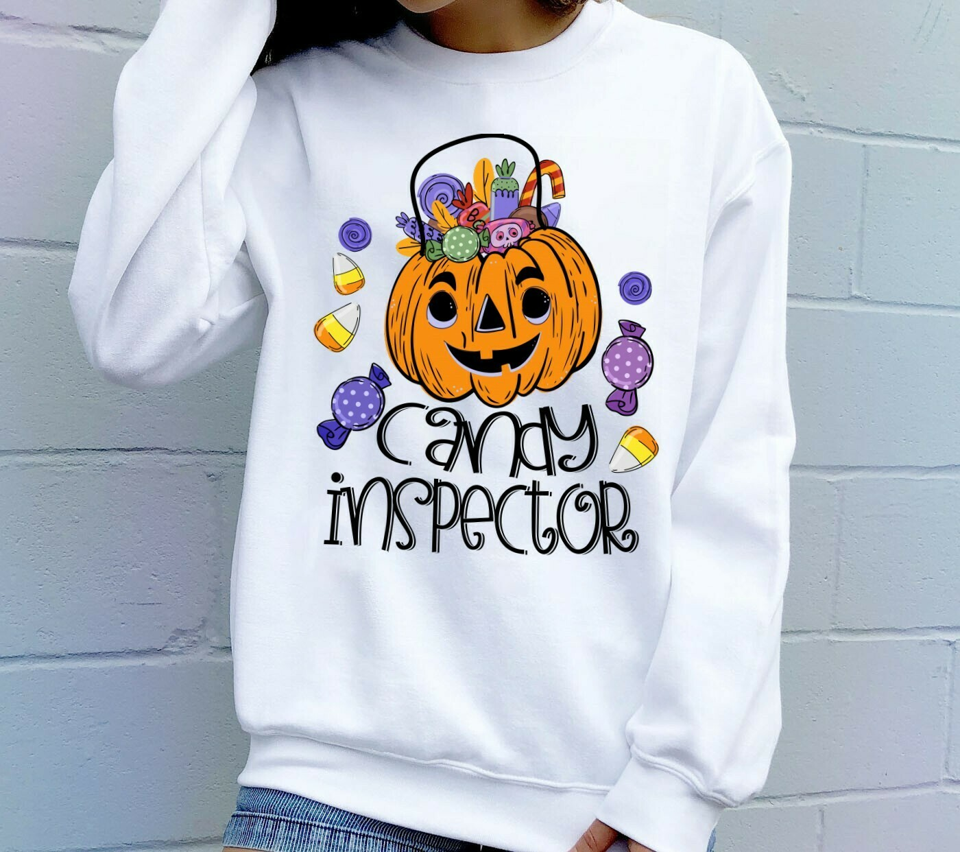 Pumpkin Trick Or Treat Candy Inspector Halloween Candy Corn Shirt Gifts For Lovers Autumn Family Vacation Party T-Shirt Long Sleeve Sweatshirt Hoodie Jolly Family Gifts