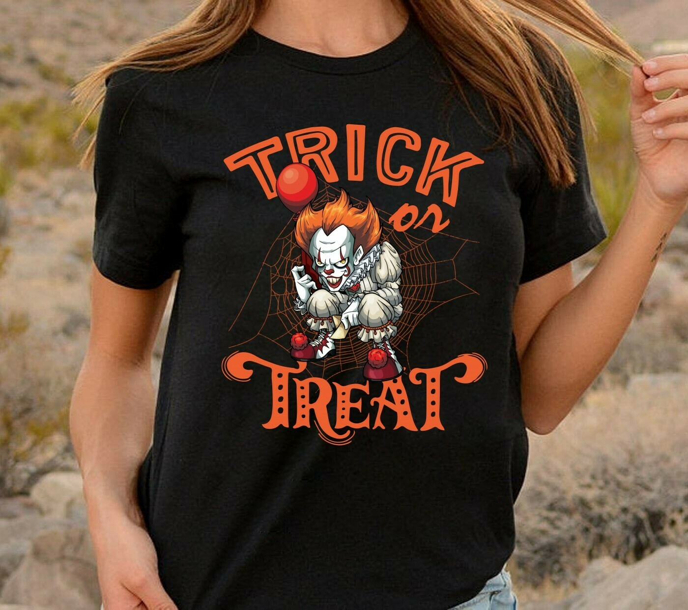 IT Trick Or Treat Pennywise We All Float Down Here Gifts For Fan Movie Villains Halloween Movie Mashup Halloween Tee Not So Scary T-Shirt Long Sleeve Sweatshirt Hoodie Jolly Family Gifts