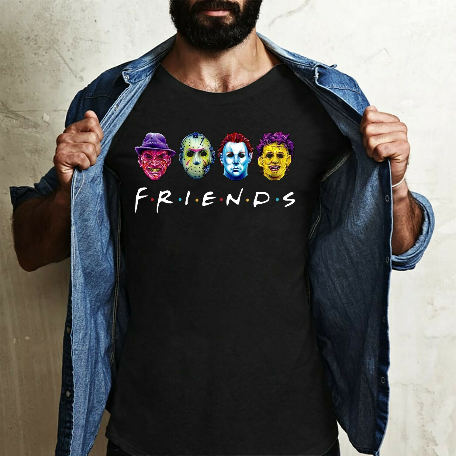Horror Friends Squad Sinister Friends Villains Halloween Horror Movie Mashup T-shirt Long Sleeve Sweatshirt Hoodie Jolly Family Gifts