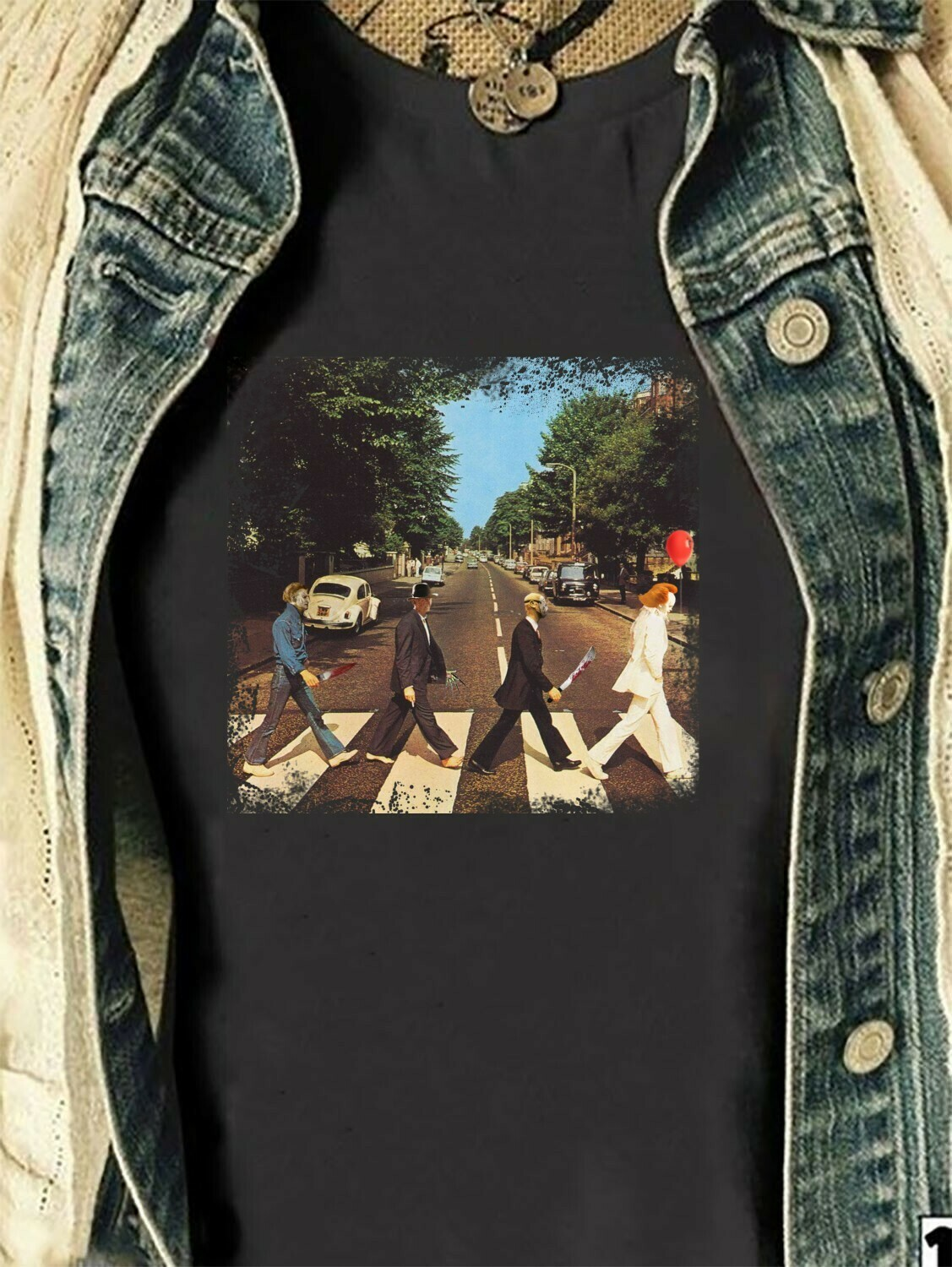 Funny Halloween Horror Character Abbey Road Mashup Friday The 13th IT Villains Halloween Horror Movie Mashup Squad Not So Scary T-Shirt Long Sleeve Sweatshirt Hoodie Jolly Family Gifts