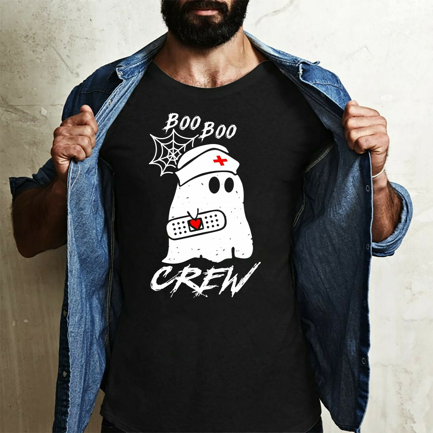 Halloween Boo Boo Crew Gifts Idea For Yourself And Friends Boo Horror Heartbeats Nursing Student Graduation School Nurse's Day T-Shirt Long Sleeve Sweatshirt Hoodie Jolly Family Gifts