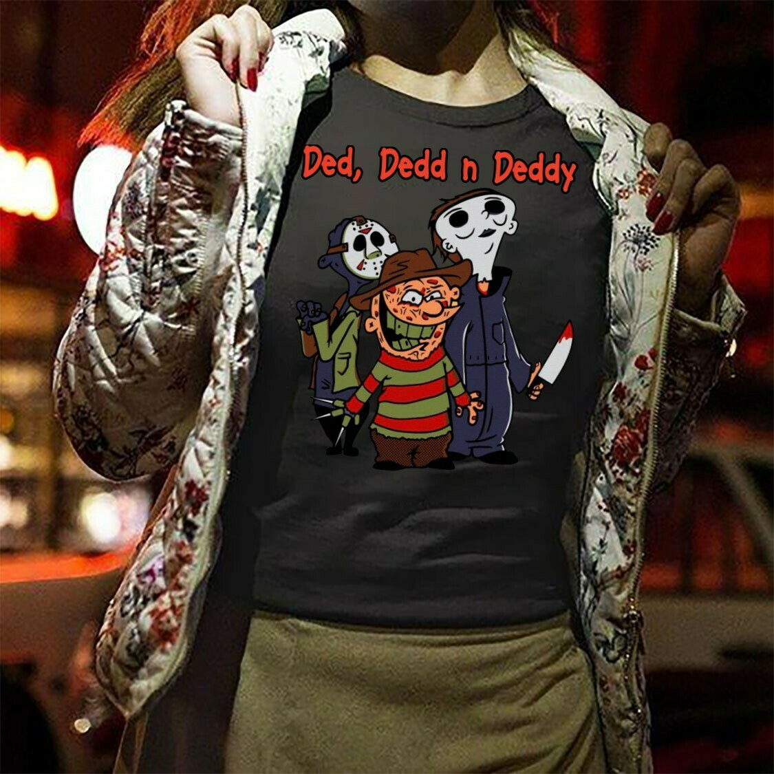 Ded, Dedd n Deddy Funny Horror Squad Friday The 13th Villains Halloween Movie Freddy Krueger Michael Myers Jason Voorhees Scary Tshirt Long Sleeve Sweatshirt Hoodie Jolly Family Gifts