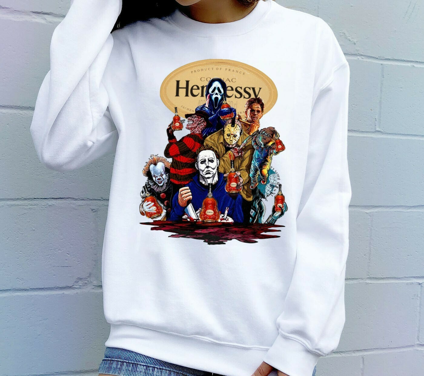 Horror Character Squad Introduce Product Of France Hennessy Friday The 13th Movie Villains Halloween Horror Movie Mashup Squad T-shirt Long Sleeve Sweatshirt Hoodie Jolly Family Gifts