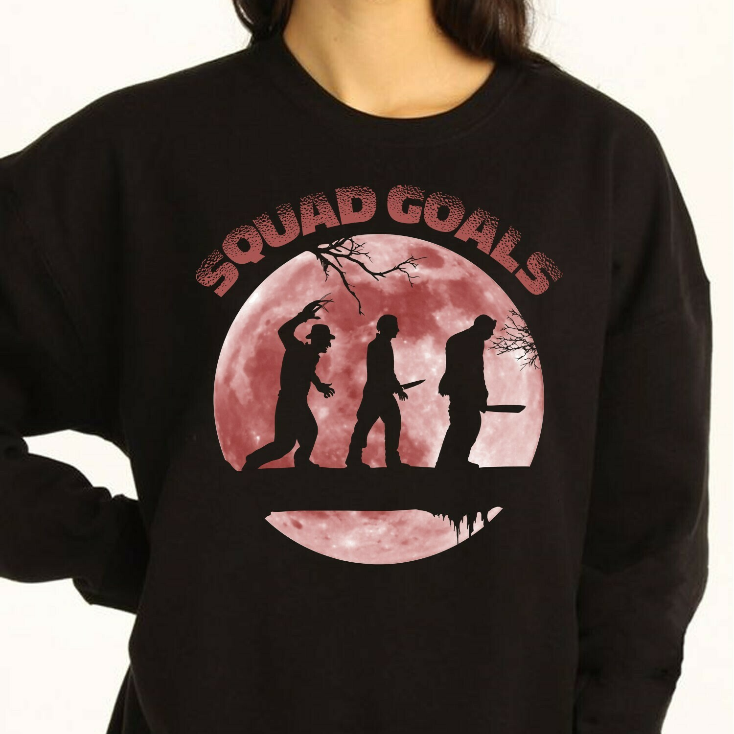 Horror Character Squad Goals In The Moonlight Friday The 13th Gifts For Fan Movie Villains Halloween Horror Movie Mashup Squad T-Shirt Long Sleeve Sweatshirt Hoodie Jolly Family Gifts