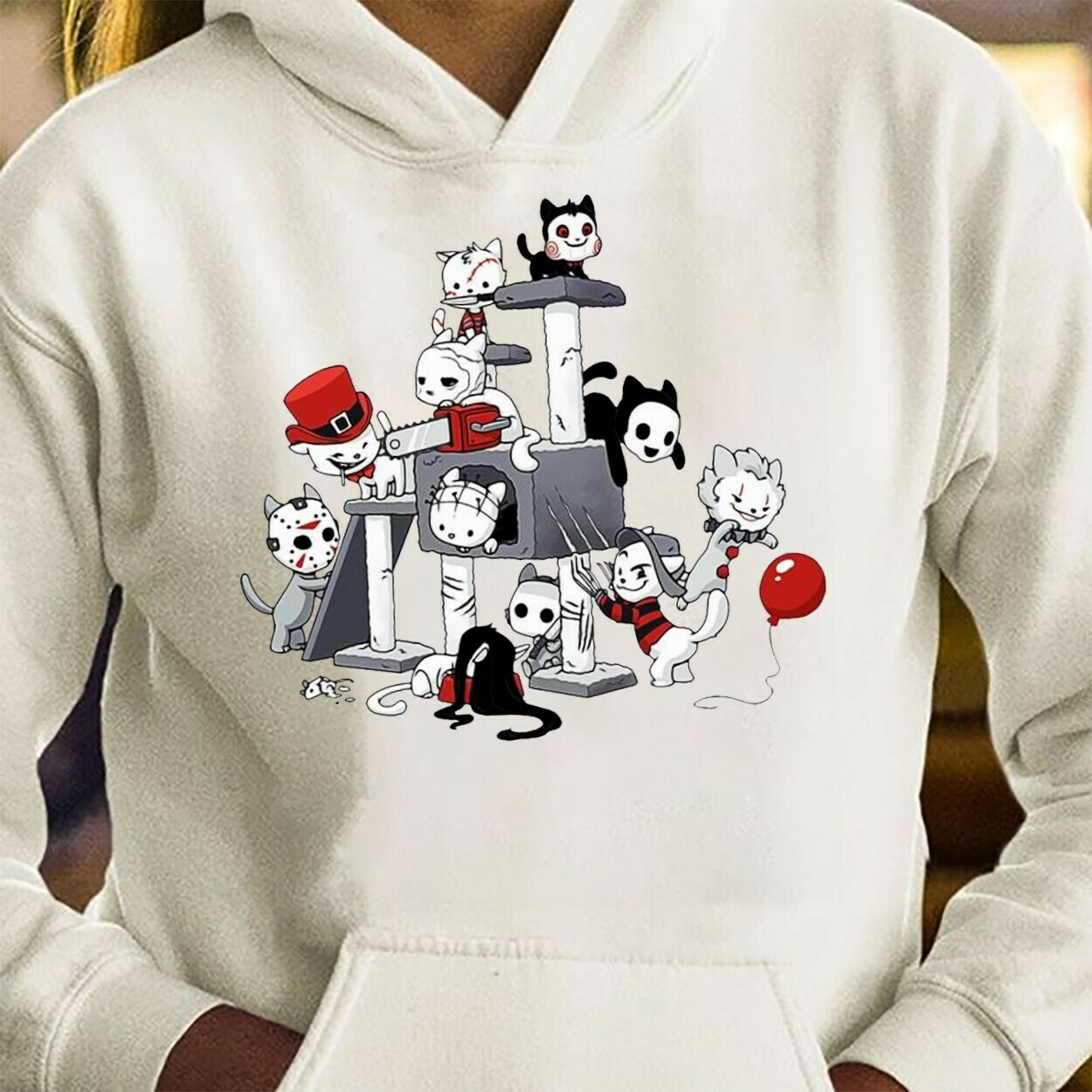 Funny Horror Cat Play Kitten Friend Halloween Squad Friday The 13th Villains Halloween Horror movie mashup Squad Not So Scary Tee T-Shirt Long Sleeve Sweatshirt Hoodie Jolly Family Gifts