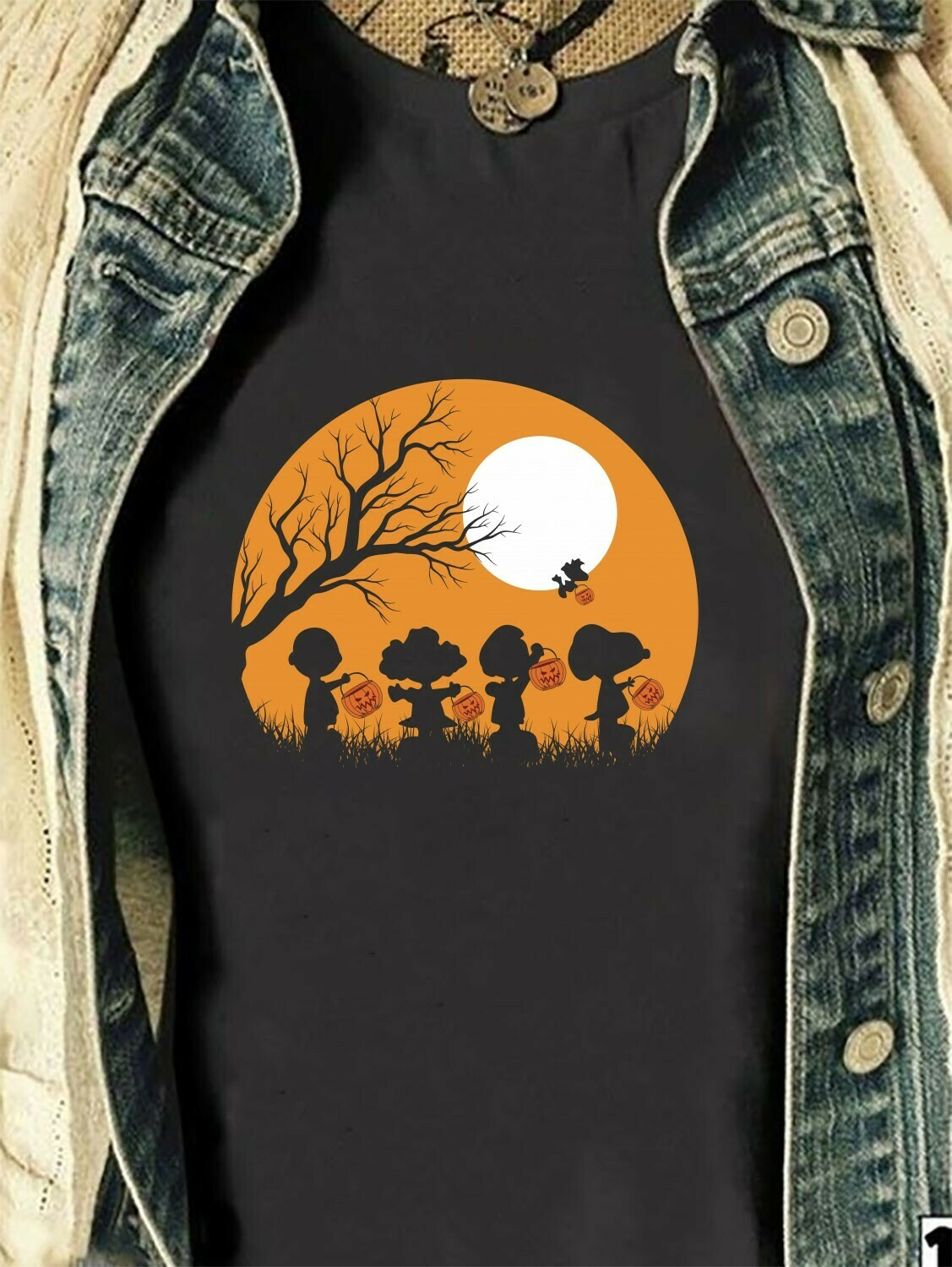 Snoopy, Peanuts And Friends Trick Or Treat Halloween Walk Under The Moon Halloween Costume Gifts for Best Friend Family Vacation T-Shirt Long Sleeve Sweatshirt Hoodie Jolly Family Gifts