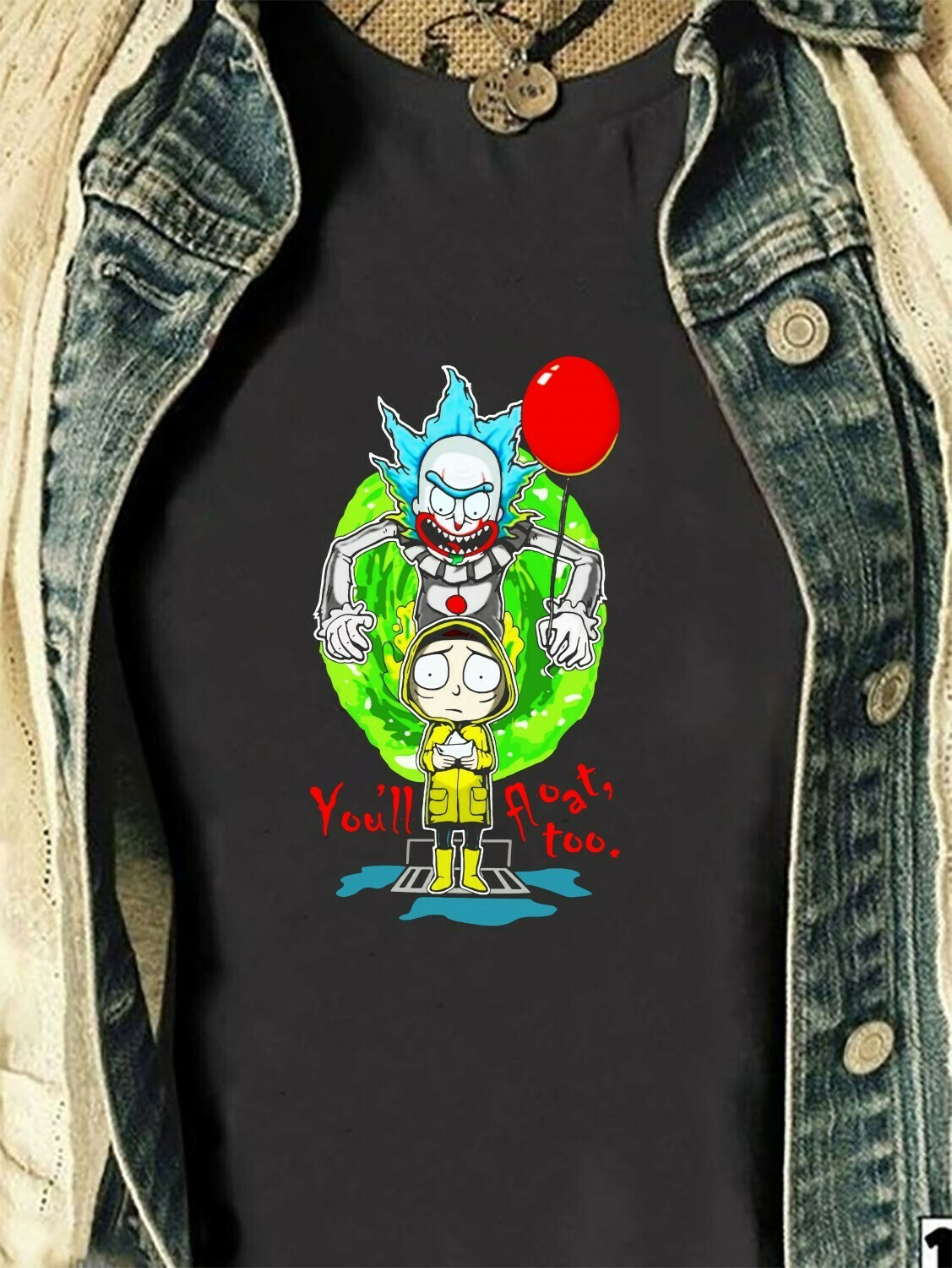 Funny Rick and Morty Cosplay Pennywise IT You'll Float Too Halloween Squad We All Float Down Here Squad Villains Movie Mashup T-Shirt Long Sleeve Sweatshirt Hoodie Jolly Family Gifts