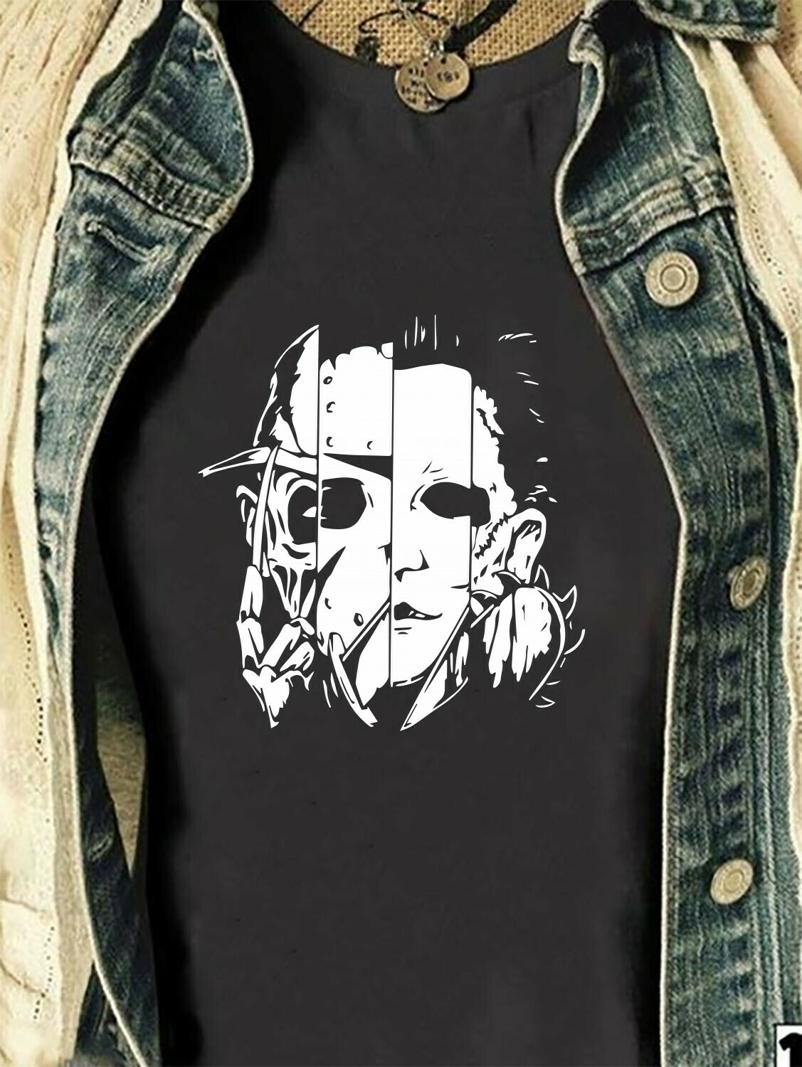 Horror Face Friday The 13th Villains Halloween Movie Horror Squad Freddy Krueger Michael Myers Jason Voorhees Scary Not So Scary T-Shirt Long Sleeve Sweatshirt Hoodie Jolly Family Gifts