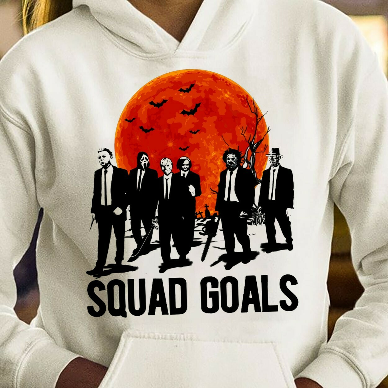 Halloween Horror Character Squad Goals Texas Chainsaw Massacre Friday The 13th Villains Halloween Horror Movie Mashup Squad T-Shirt Long Sleeve Sweatshirt Hoodie Jolly Family Gifts