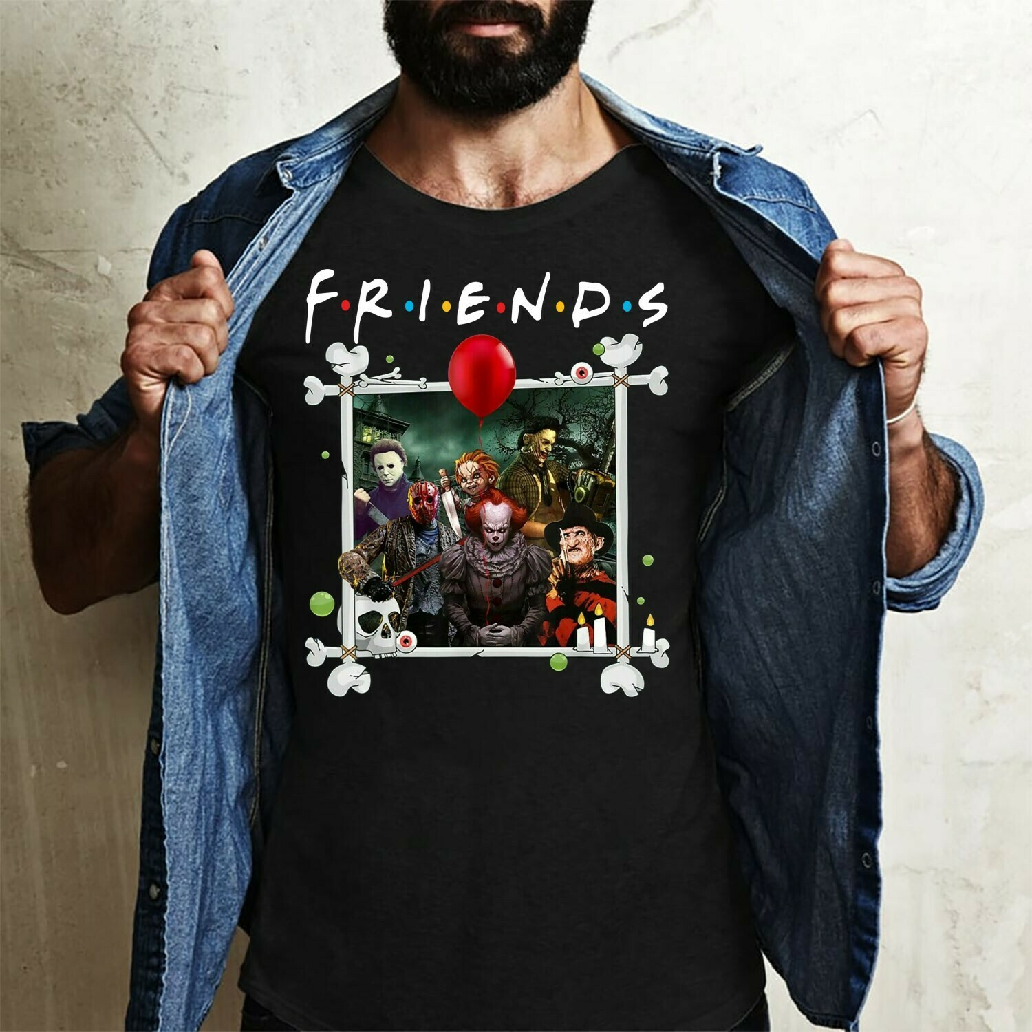 Halloween Horror Character Friends Squad Goals IT Joker Pennywise Friday The 13th Villains Halloween Horror Movie Mashup Squad T-Shirt Long Sleeve Sweatshirt Hoodie Jolly Family Gifts