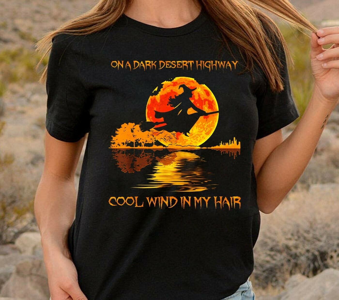 Witch Guitar Lake Shadow On A Dark Desert Highway Cool Wind In My Hair Bad Girls In The Moonlight Gifts For Love Grandmalife Mom NanaT-shirt Long Sleeve Sweatshirt Hoodie Jolly Family Gifts