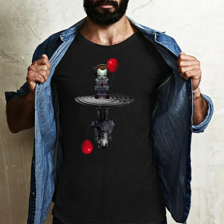 Chibi Horror Spooky Clown Reflection IT Joker Pennywise 2019 We All Float Down Here Villains Halloween Horror Movie Mashup Unisex T-Shirt Long Sleeve Sweatshirt Hoodie Jolly Family Gifts