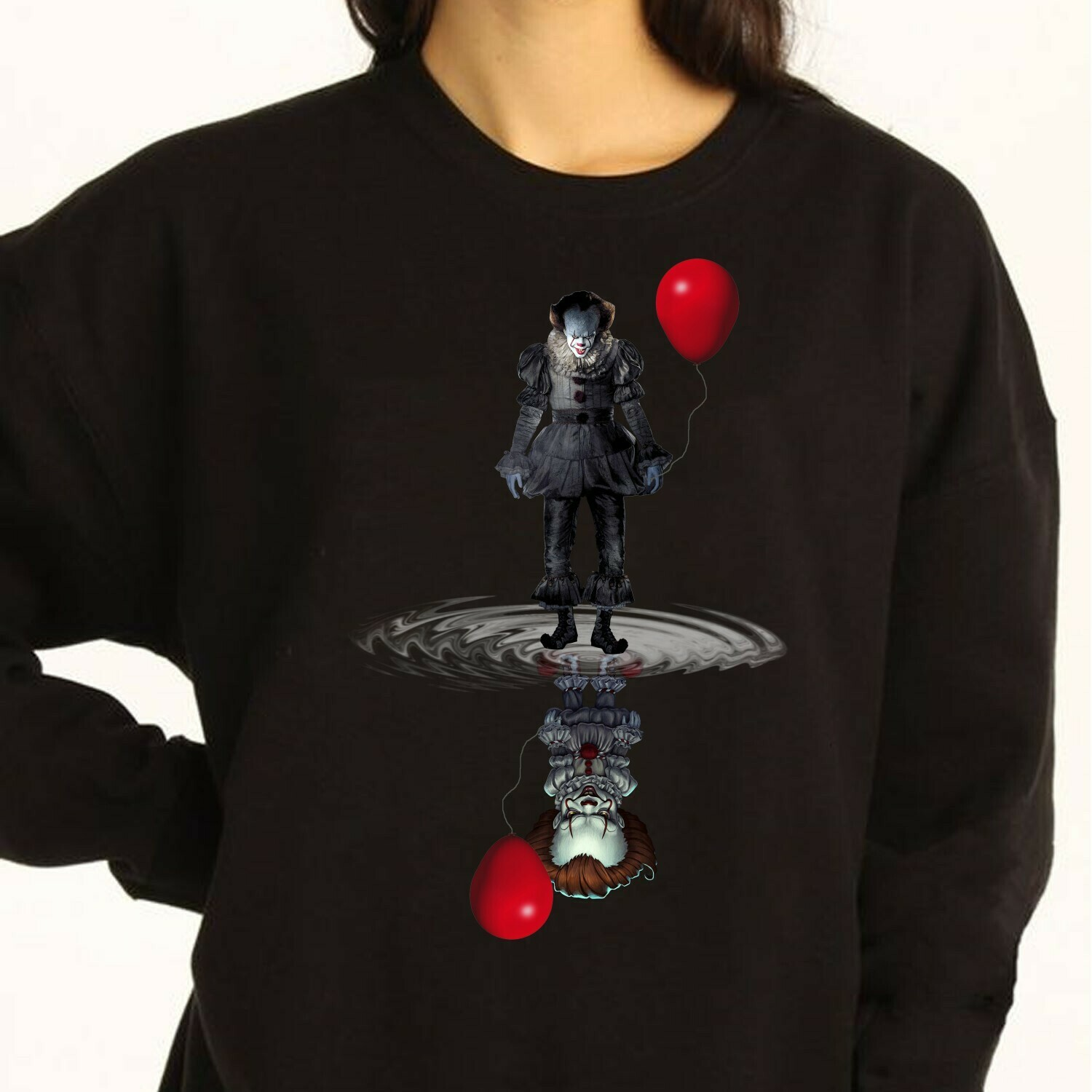 Horror IT Joker Pennywise 2019 We All Float Down Here Reflection Chibi Horror Spooky Clown Villains Halloween Movie Mashup Gifts T-Shirt Long Sleeve Sweatshirt Hoodie Jolly Family Gifts