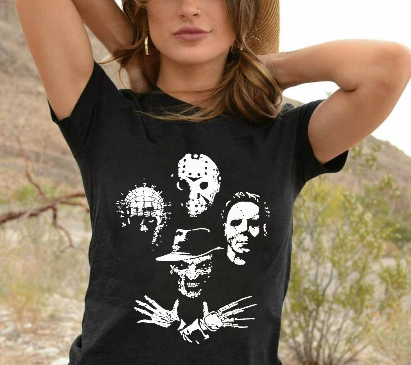 Horror Face Friday The 13th Villains Halloween Movie Horror Squad Pinhead Freddy Krueger Michael Myers Jason Voorhees Not So Scary T-Shirt Long Sleeve Sweatshirt Hoodie Jolly Family Gifts