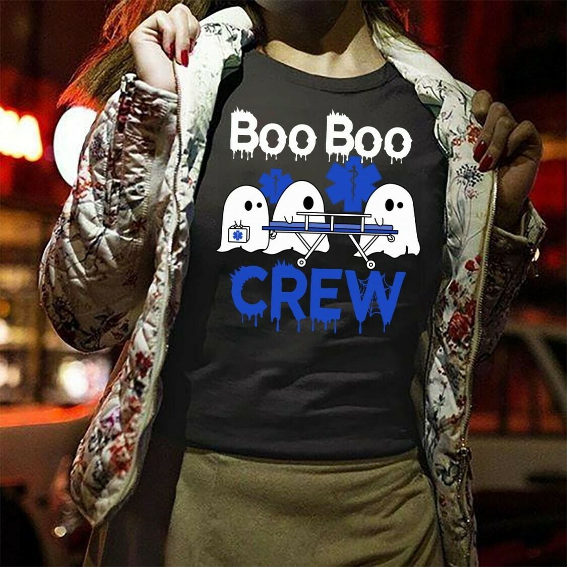 Boo Boo Crew Halloween Nurse Gifts Idea For Yourself And Friends Boo Horror Heartbeats Nursing Student Graduation School Nurse's Day T-Shirt Long Sleeve Sweatshirt Hoodie Jolly Family Gifts