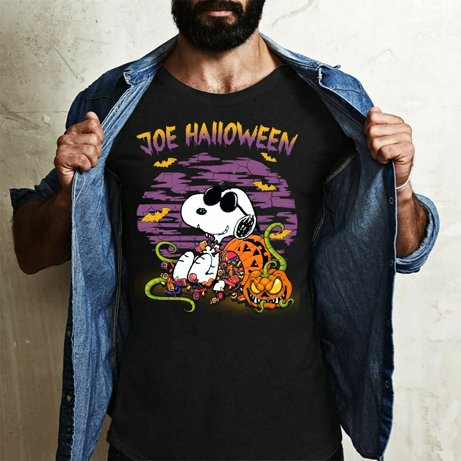 Snoopy Joe Halloween Pumpkin Candy Trick Or Treat Costume Gifts for Best Friend Family Vacation Gifts T-Shirt Long Sleeve Sweatshirt Hoodie Jolly Family Gifts