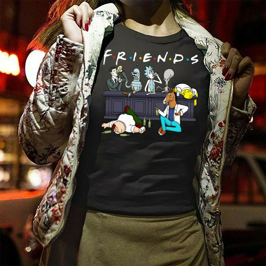 Friends Rick and Morty Simpson On Cartoon Network Drink Wine Halloween Impressive Perfect Gifts Idea For Yourself And Friends Squad T-Shirt Long Sleeve Sweatshirt Hoodie Jolly Family Gifts