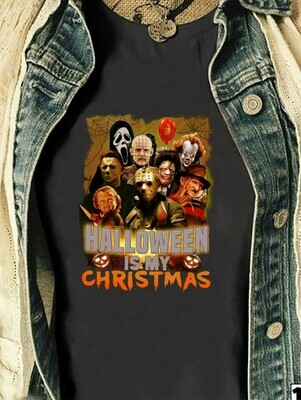 Horror Squad Halloween Is My Christmas IT Chucky Jason Voorhees Michael Myers Leatherface Movie Villains Halloween Horror Mashup T-shirt Long Sleeve Sweatshirt Hoodie Jolly Family Gifts
