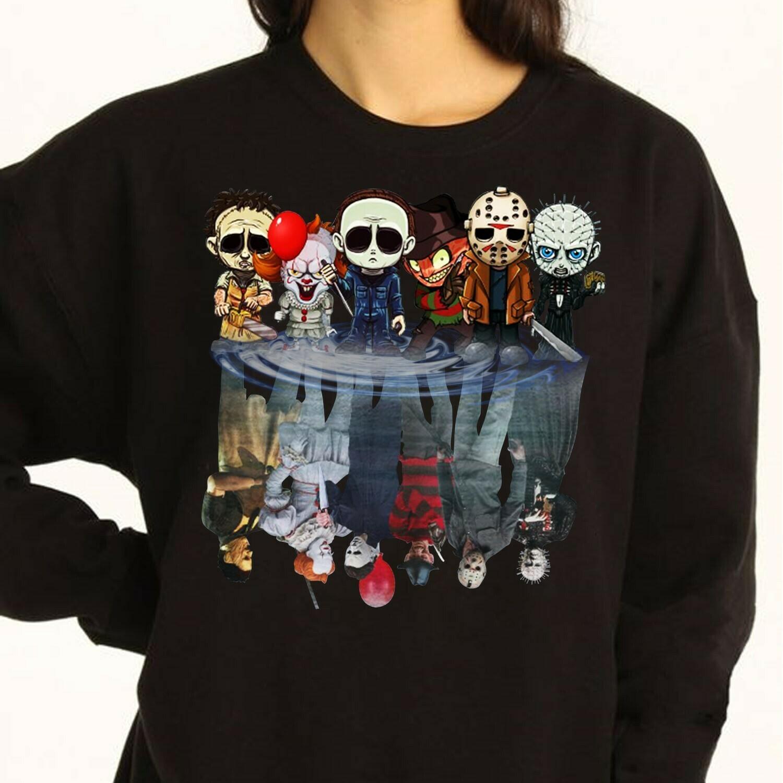 Chibi Friends Reflection Maskup Horror Movie Characters Halloween Joker IT Pennywise Villains T-Shirt Long Sleeve Sweatshirt Hoodies Long Sleeve Sweatshirt Hoodie Jolly Family Gifts