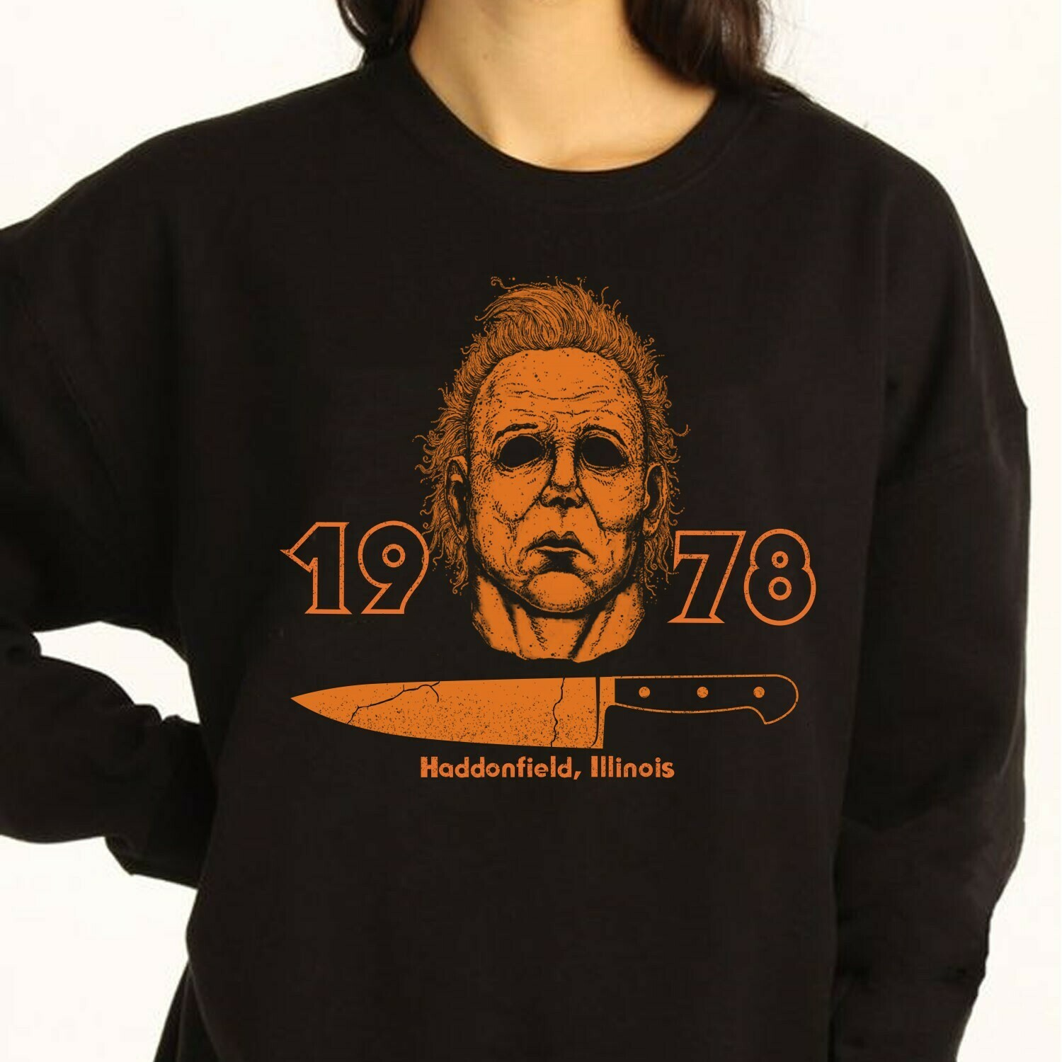 Michael Myers 1978 Haddonfield, Illinois Halloween Gifts For Fan Movie Villains Halloween Horror Movie Mashup Squad Not So Scary T-Shirt Long Sleeve Sweatshirt Hoodie Jolly Family Gifts
