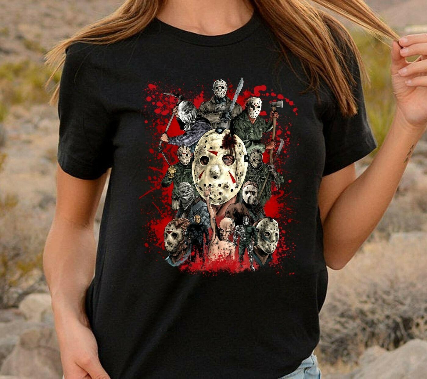 Horror Thriller Killer Jason Voorhees All Version Friday The 13th Movie Villains Halloween Horror Movie Mashup T-shirt Long Sleeve Sweatshirt Hoodie Jolly Family Gifts