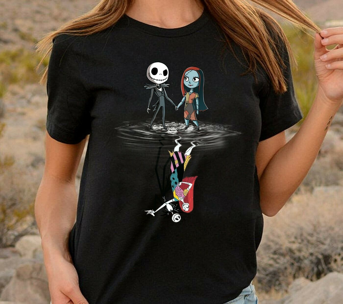 Funny Jack Reflection Maskup Jack Skellington And Sally Hocus Pocus The Nightmare Before Christmas Mickey Not so Scary Unisex T-shirt Long Sleeve Sweatshirt Hoodie Jolly Family Gifts