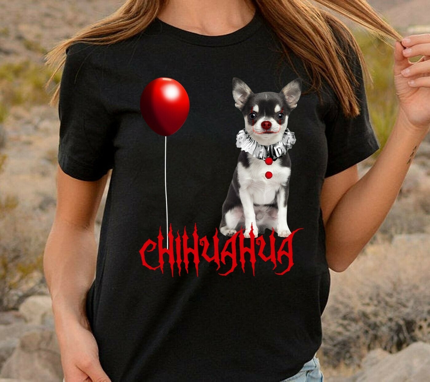 Chihuahua IT Pennywise We All Float Down Here Gift for Dogs Lovers Squad Villains Halloween Horror Movie Mashup Unisex T-Shirt Long Sleeve Sweatshirt Hoodie Jolly Family Gifts