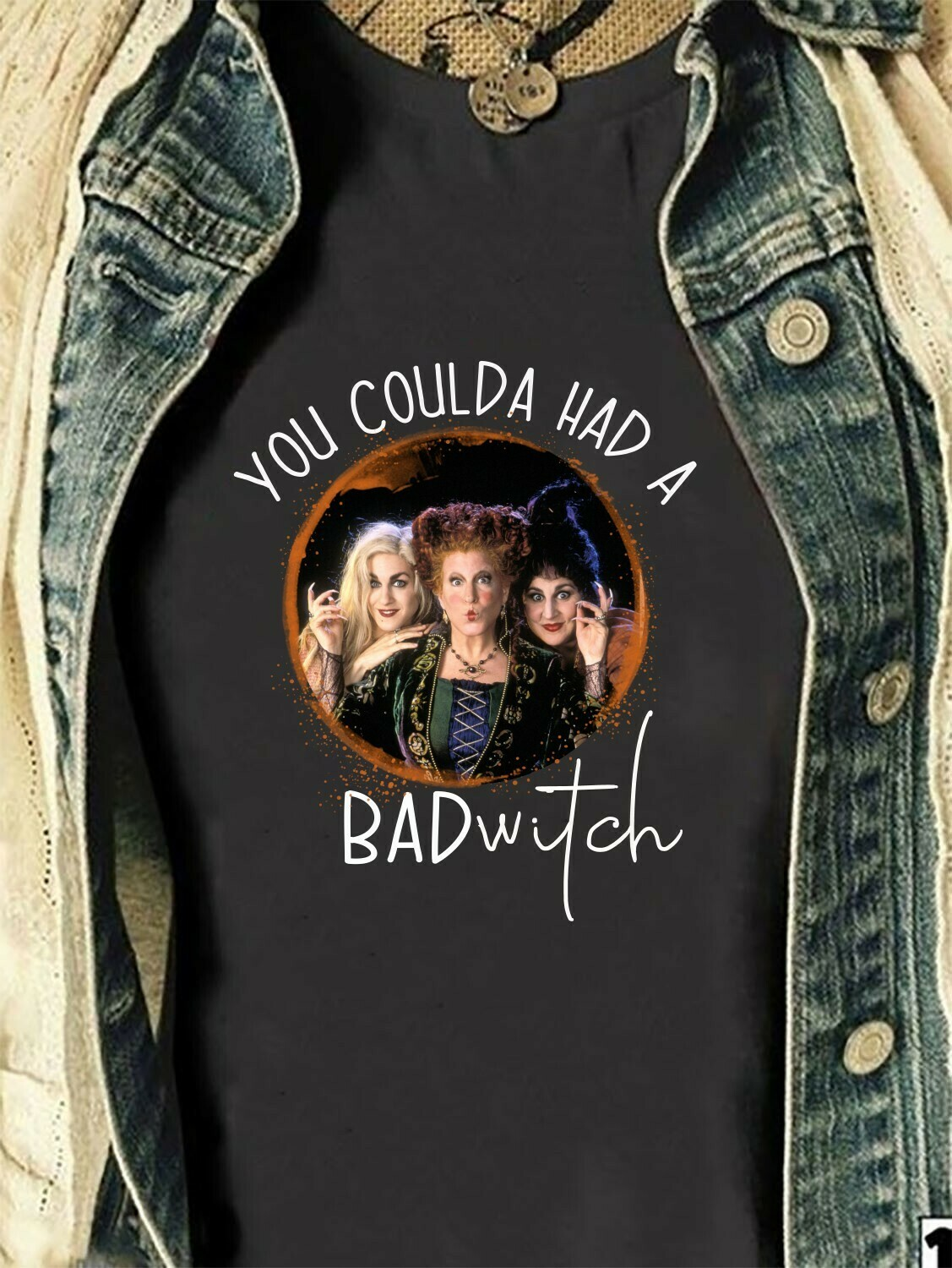 Halloween You Coulda Had A Bad Witch Sanderson Sisters Hocus Pocus Mandala Disney Villains Have More Fun Walt Disneyland Park T-Shirt Long Sleeve Sweatshirt Hoodie Jolly Family Gifts