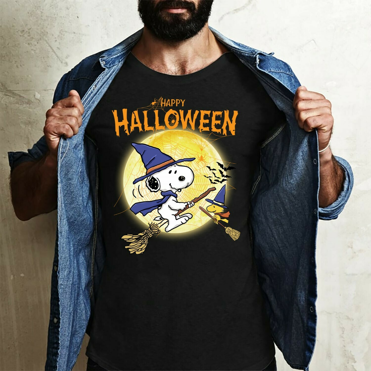 Snoopy Witch And Peanuts In The Moonlight Trick Or Treat Halloween Costume Gifts Idea For Best Friend Family Party Vacation T-Shirt Long Sleeve Sweatshirt Hoodie Jolly Family Gifts