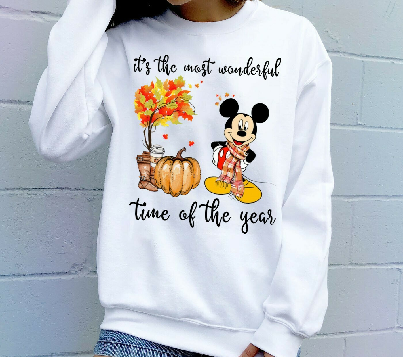 Disney Mickey Halloween Pumpkin It's The Most Wonderful Time Of The Year Gifts For Lovers Autumn Women Best Friend Vacation Party T-Shirt Long Sleeve Sweatshirt Hoodie Jolly Family Gifts