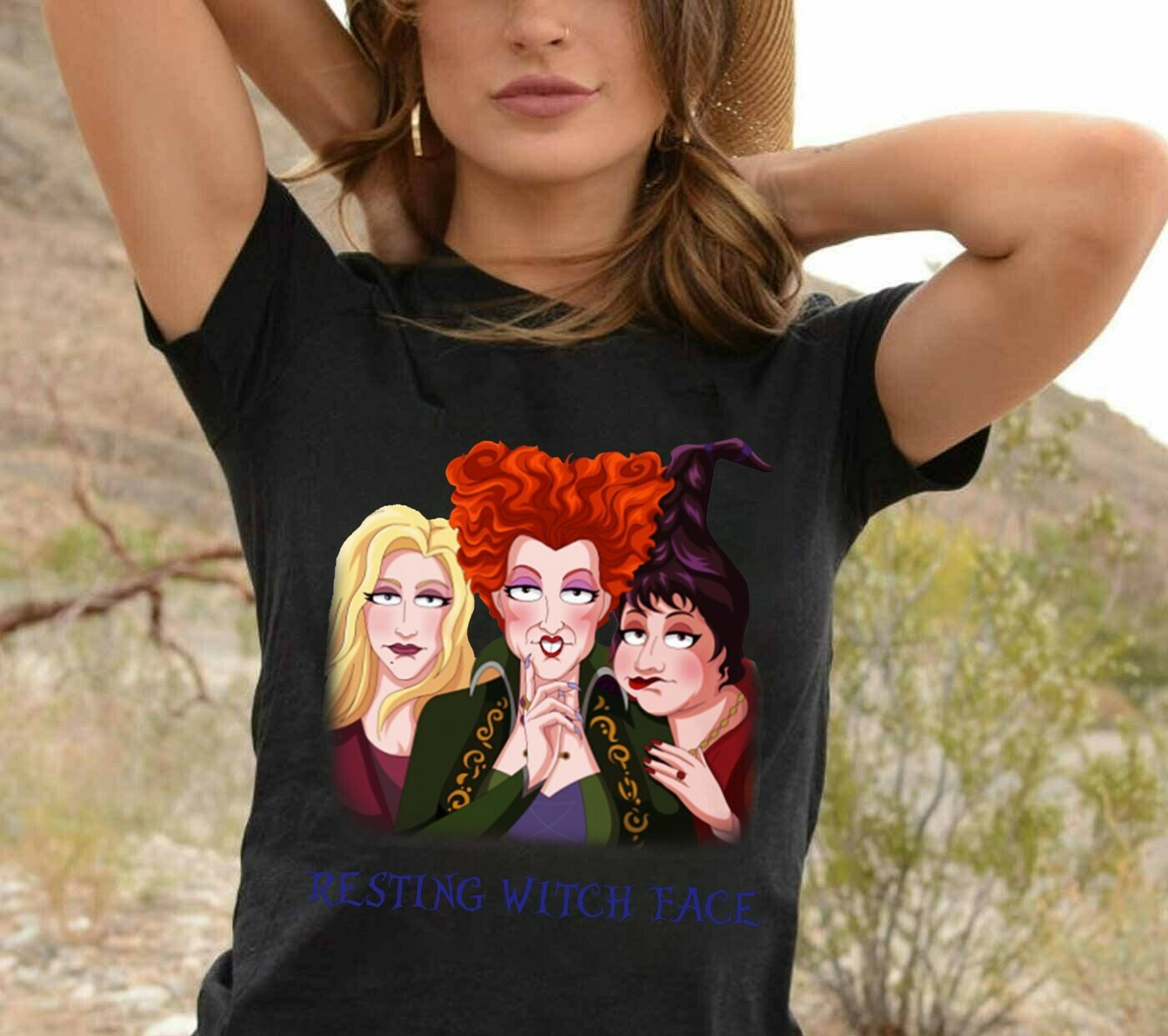 Resting Witch Face Sanderson Sisters Happy Halloween Hocus Pocus Bad Girls Have More Fun Walt Disney World Vacation T-Shirt Long Sleeve Sweatshirt Hoodie Jolly Family Gifts