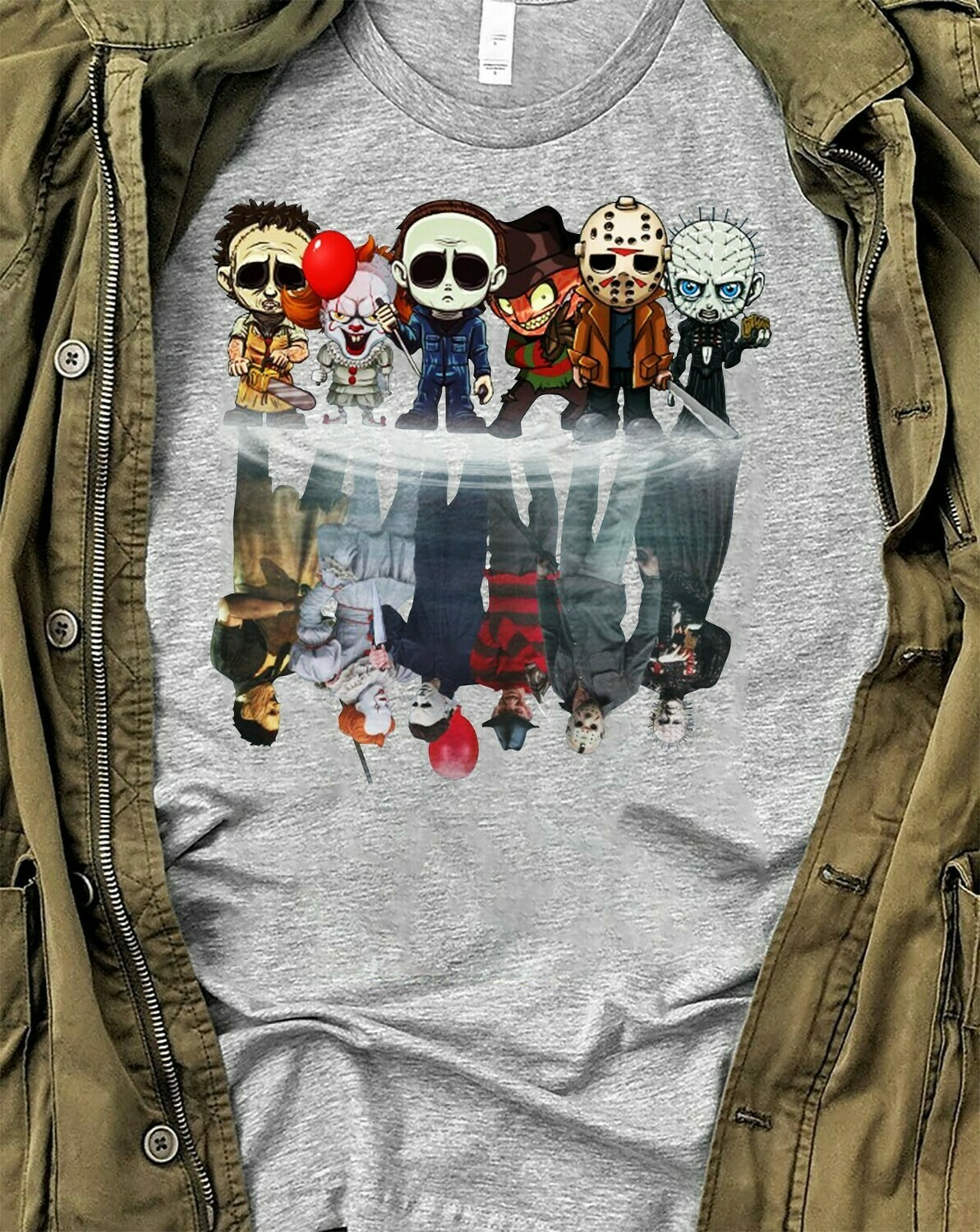 Chibi Friends Reflection Maskup Horror Movie Characters Halloween Joker IT Pennywise Villains T-Shirt Long Sleeve Sweatshirt Hoodies Long Sleeve Sweatshirt Hoodie Jolly Family Gifts