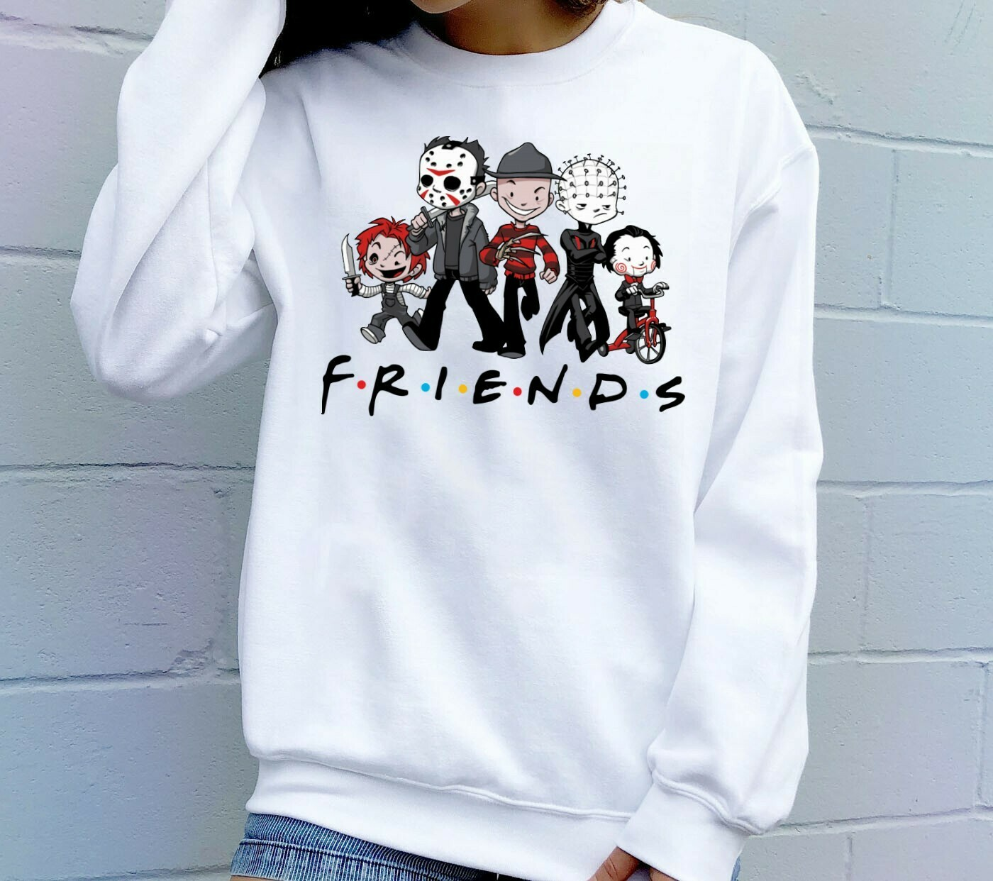Chibi Friends Maskup Horror Movie Charactors Halloween Joker IT Pennywise Villains T-Shirt Long Sleeve Sweatshirt Hoodies Long Sleeve Sweatshirt Hoodie Jolly Family Gifts