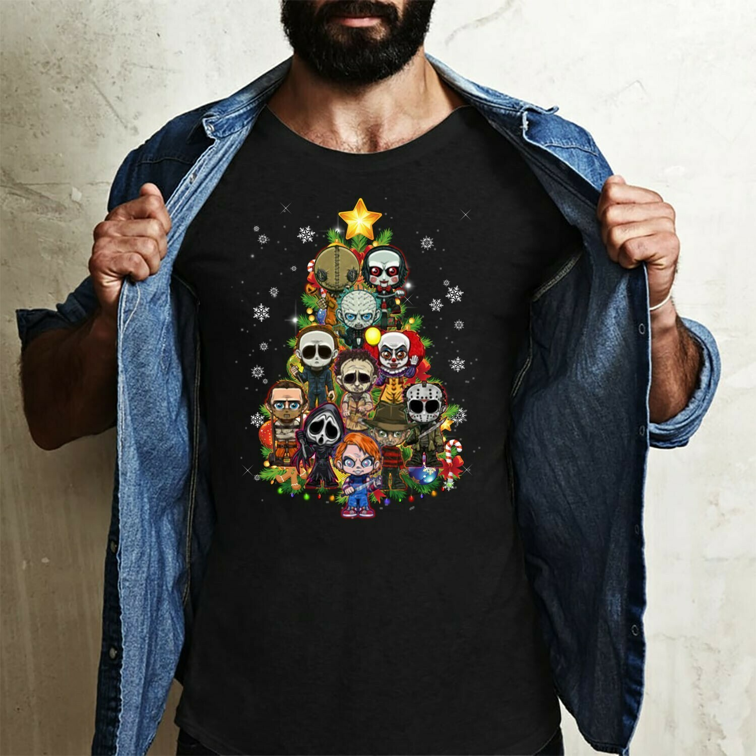 Horror Character Christmas Tree Squad IT Pennywise Chucky Jason Voorhees Myers Leatherface Villains Halloween Horror Movie Mashup T-Shirt Long Sleeve Sweatshirt Hoodie Jolly Family Gifts
