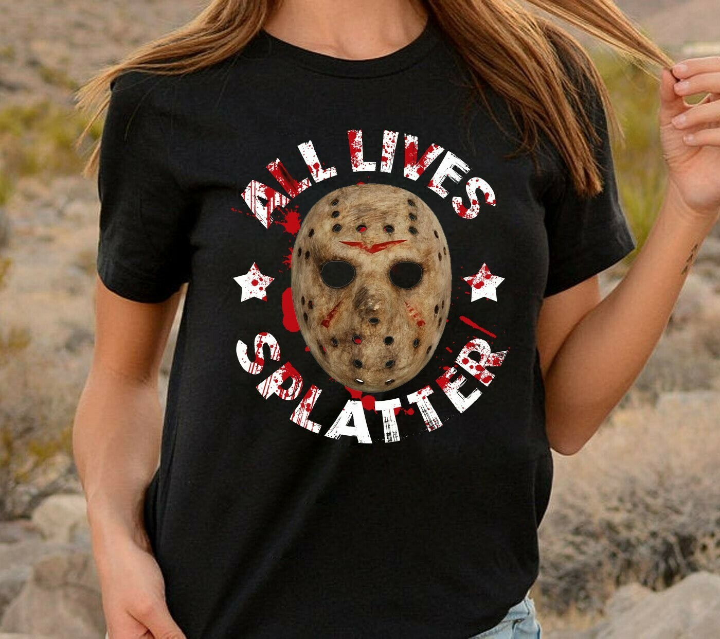 Jason Voorhees All Lives Splatter No Lives Matter Horror Friday The 13th Villains Halloween Movie Mashup Halloween Tee T-Shirt Long Sleeve Sweatshirt Hoodie Jolly Family Gifts